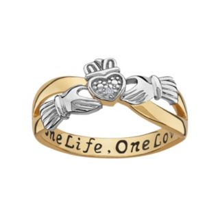 Sweet Sentiments 14k Gold Over Silver and Sterling Silver Diamond Accent Claddagh Ring