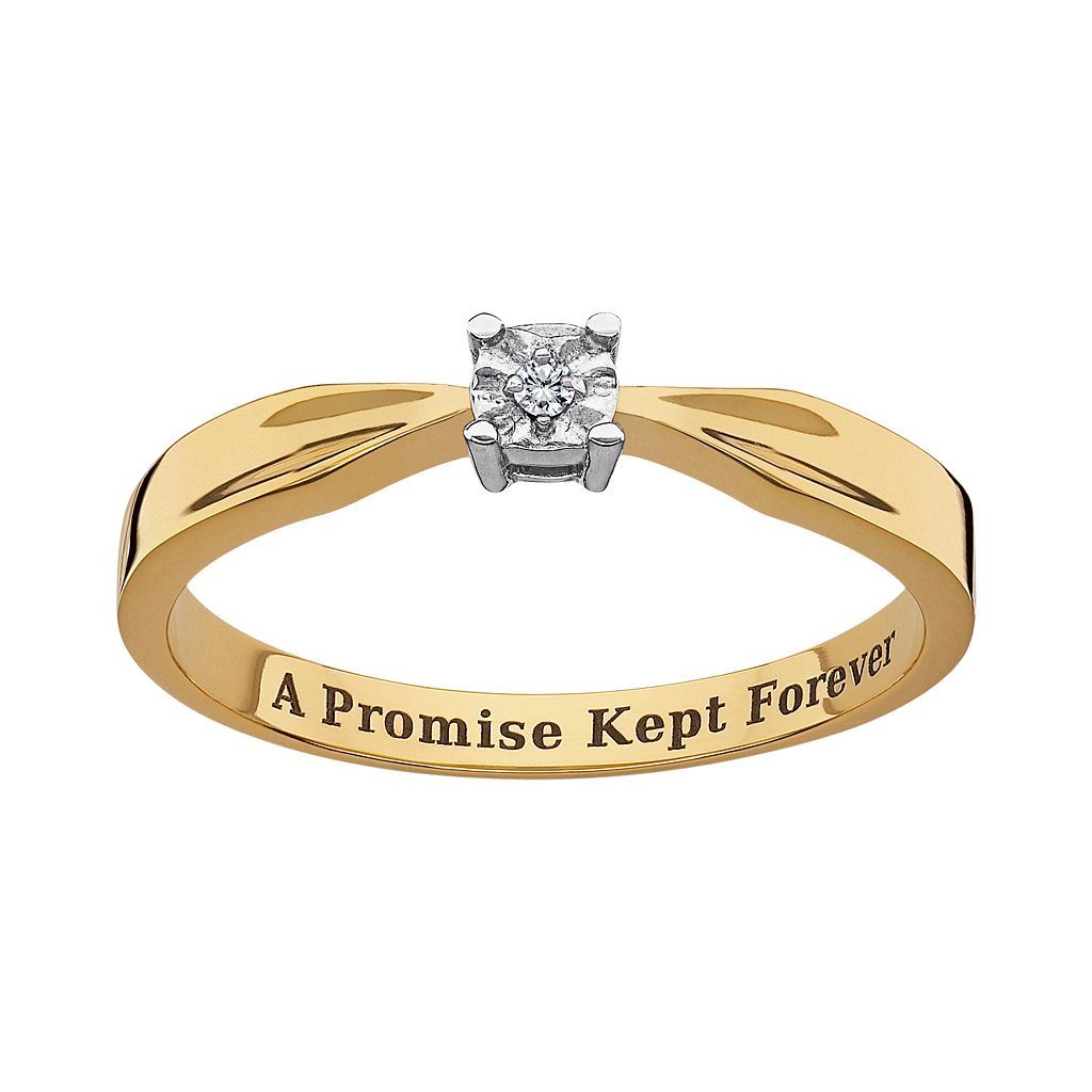 Sweet Sentiments 14k Gold Over Sterling Silver Diamond Accent Solitaire Ring