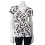 ELLE Floral Pintuck Top