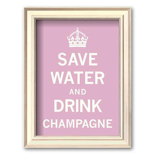 Art.com Save Water and Drink Champagne Framed Art Print