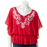 ELLE Embroidered Chiffon Blouse Set