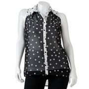 HeartSoul Sheer Polka-Dot Button-Front Sleeveless Top - Juniors' Plus