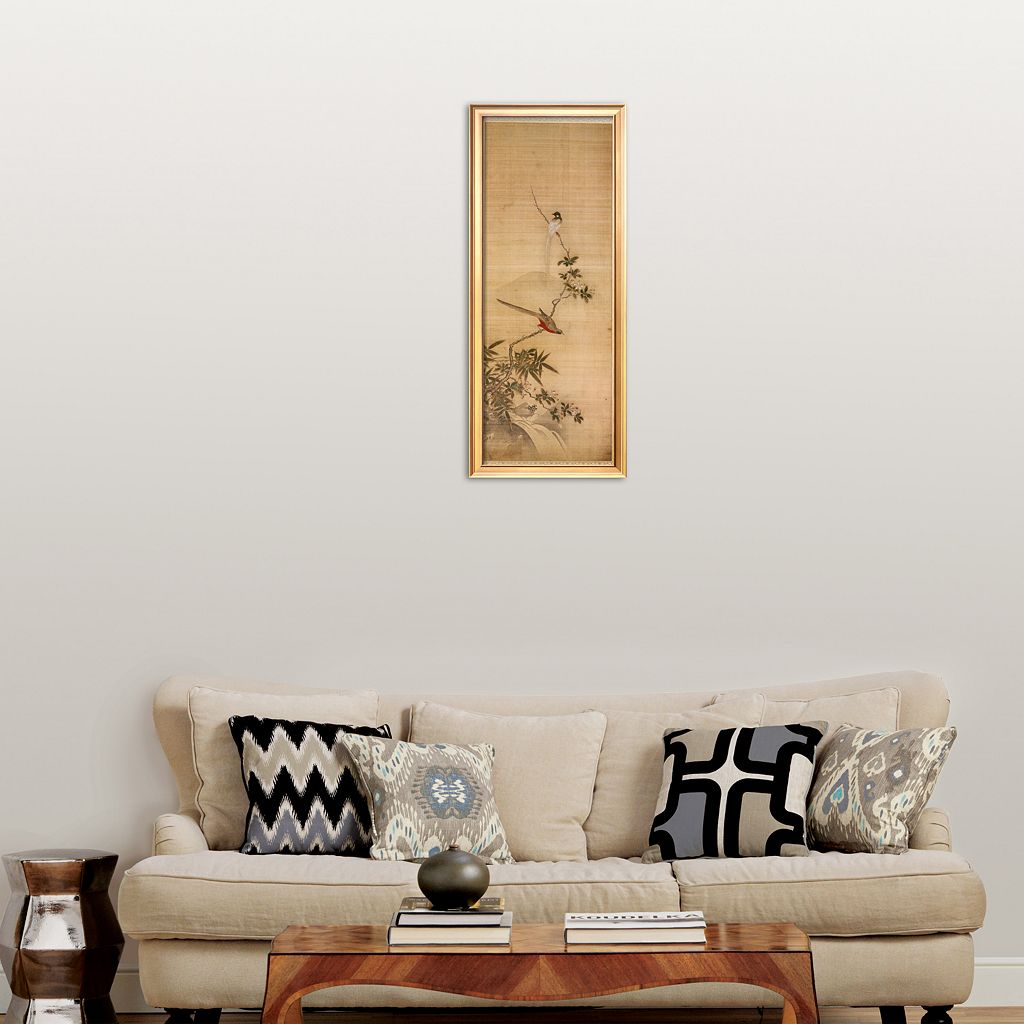 Art.com Birds on a Plum Blossom Framed Art Print by Yanagisawa Kien