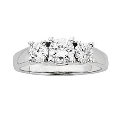 18k White Gold 1 ctT.W. IGL Certified Round-Cut Colorless Diamond 3-Stone Ring