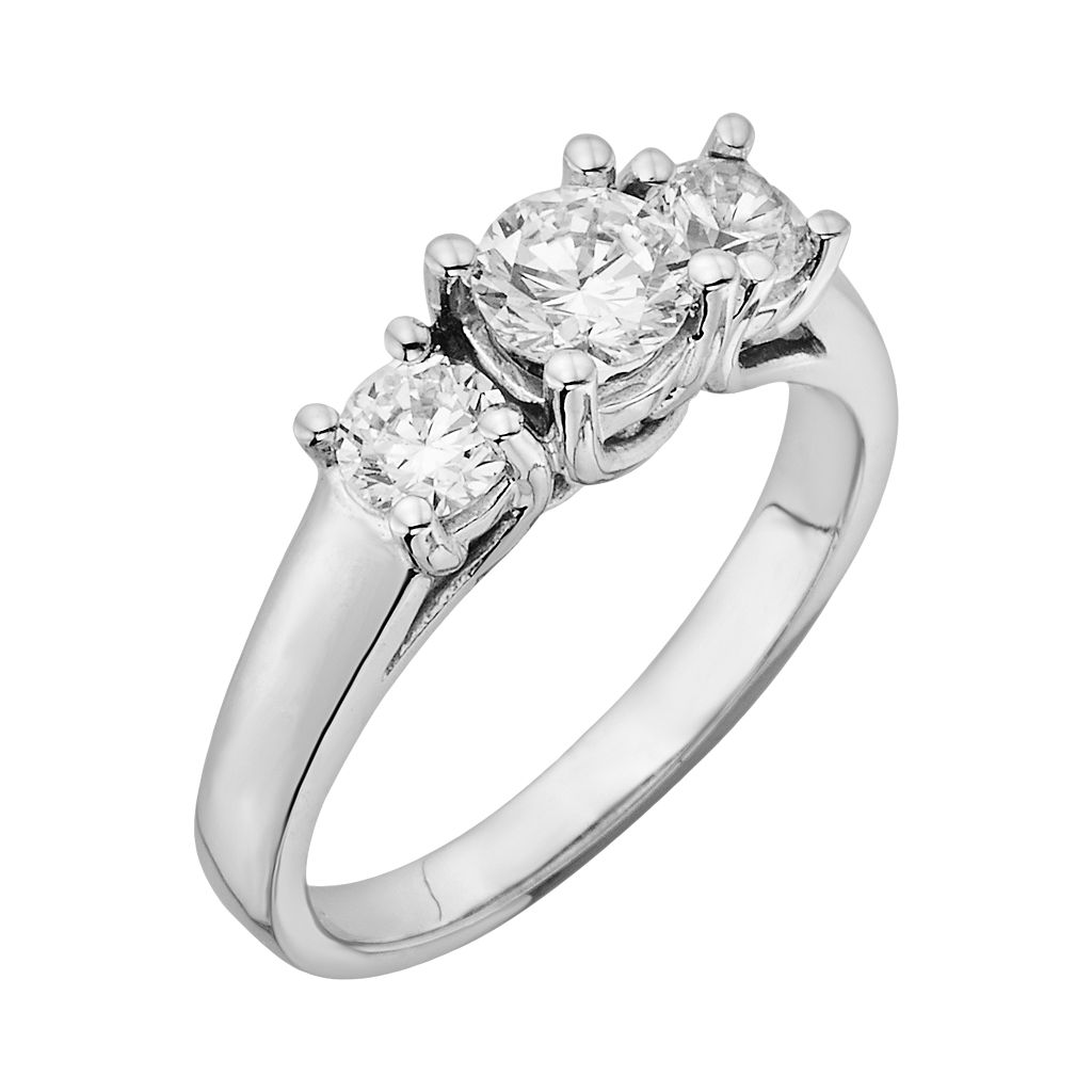 18k White Gold 1-ct. T.W. IGL Certified Round-Cut Colorless Diamond 3-Stone Ring