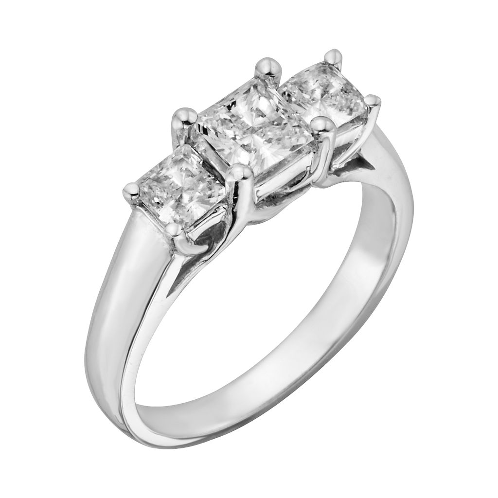 18k White Gold 1-ct. T.W. IGL Certified Princess-Cut Colorless Diamond 3-Stone Ring