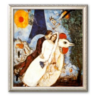 Art.com Les Fiancees de la Tour Eiffel Framed Art Print by Marc Chagall