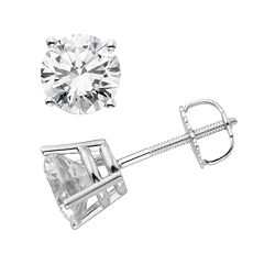 14k White Gold 1 1/2 ctT.W. IGL Certified Round-Cut Diamond Solitaire Earrings