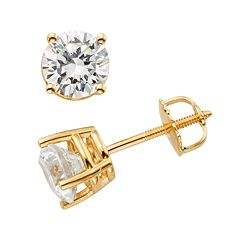 14k Gold 1 1/2 ctT.W. IGL Certified Round-Cut Diamond Solitaire Earrings