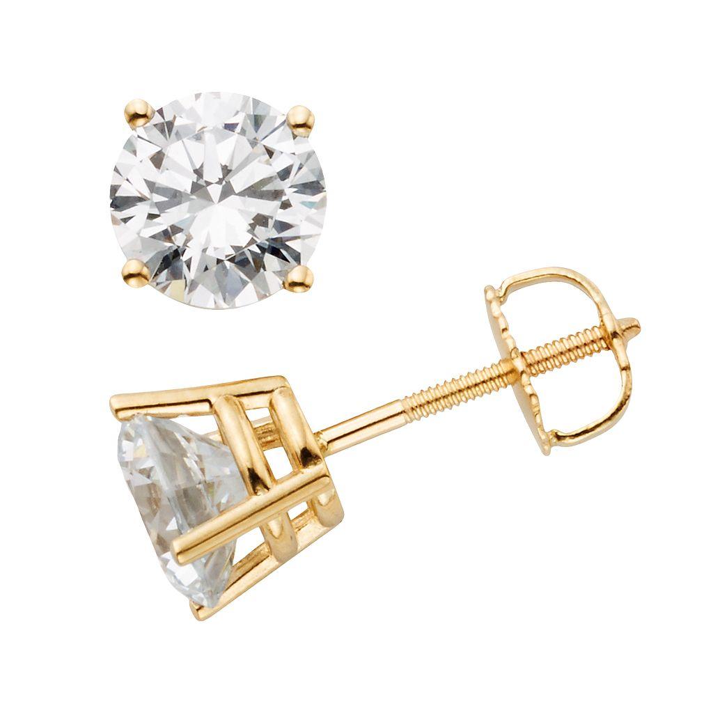 14k Gold 2-ct. T.W. IGL Certified Round-Cut Diamond Solitaire Earrings