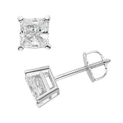 14k White Gold 1 1/2 ctT.W. IGL Certified Princess-Cut Diamond Solitaire Earrings