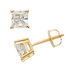 14k Gold 1 1/2 ctT.W. IGL Certified Princess-Cut Diamond Solitaire Earrings