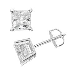 14k White Gold 2 ctT.W. IGL Certified Princess-Cut Diamond Solitaire Earrings