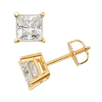 14k Gold 2-ct. T.W. IGL Certified Princess-Cut Diamond Solitaire Earrings