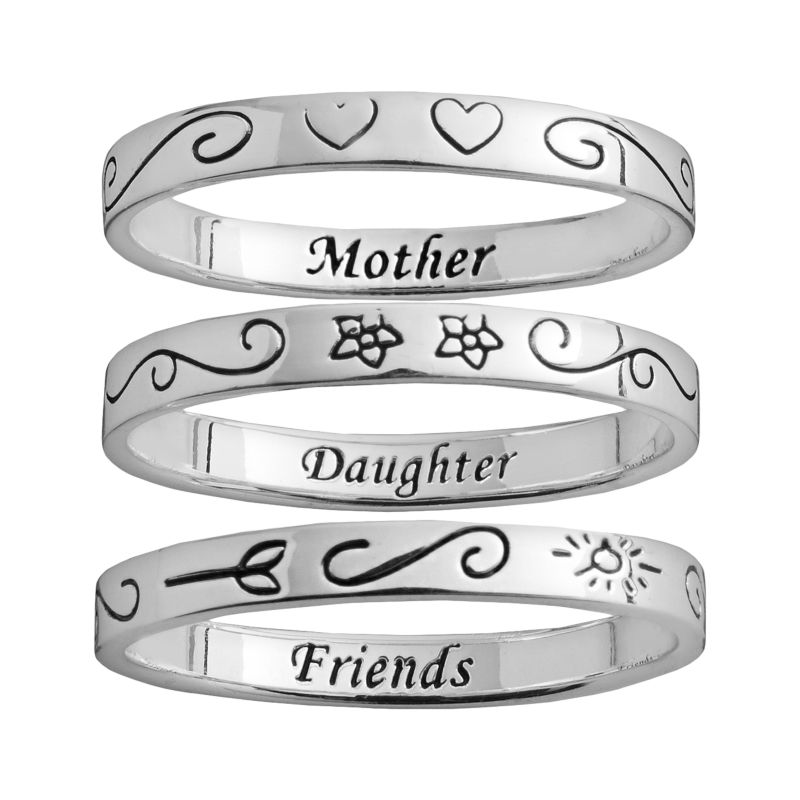 Silver Plated Mother Daughter Ring Set