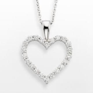18k White Gold 1/2-ct. T.W. IGL Certified Colorless Diamond Heart Pendant