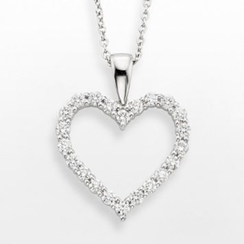 18k White Gold 1/2-ct. T.W. IGL Certified Colorless Diamond Heart Pendant