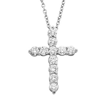 18k White Gold 1/2-ct. T.W. IGL Certified Colorless Diamond Cross Pendant
