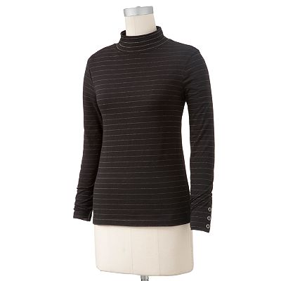 Croft and Barrow Lurex Striped Mockneck Top - Petite