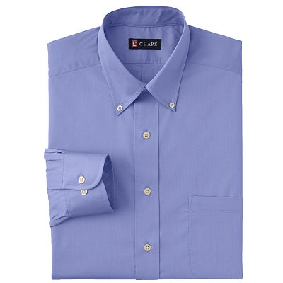 Chaps Classic-Fit Solid Twill Non-Iron Button-Down Collar Dress Shirt