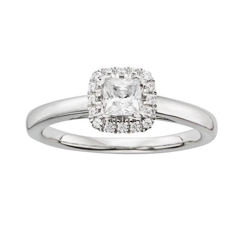 Princess-Cut IGL Certified Diamond Frame Engagement Ring in 14k White ...