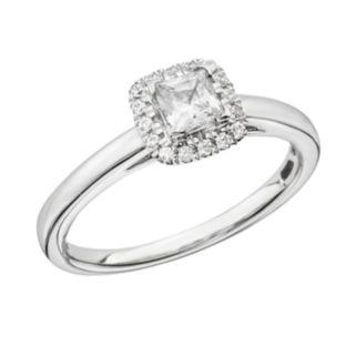 Princess-Cut IGL Certified Diamond Frame Engagement Ring in 14k White Gold (5/8-ct. T.W.)