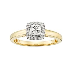 IGL Certified Diamond Square Halo Engagement Ring in 14k Gold (5/8 ct. T.W.)