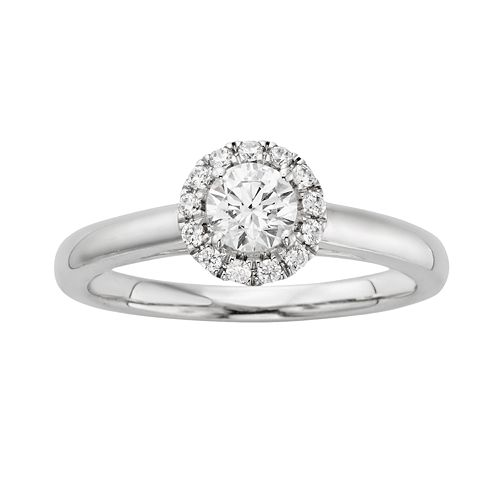 Round-Cut IGL Certified Diamond Frame Engagement Ring in 14k White Gold (5/8-ct. T.W.)
