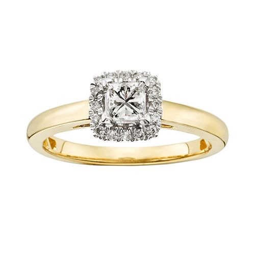 IGL Certified Diamond Halo Engagement Ring in 14k Gold (5/8 ct. T.W.)