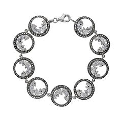 Lavish by TJM Sterling Silver Cubic Zirconia Circle Bracelet - Made with Swarovski Marcasite