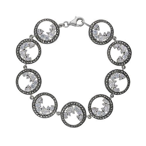 Lavish by TJM Sterling Silver Cubic Zirconia Circle Bracelet - Made with Swarovski Marcasite