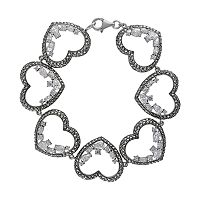 Lavish by TJM Sterling Silver Cubic Zirconia Heart Bracelet - Made with Swarovski Marcasite