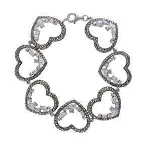 Lavish by TJM Sterling Silver Cubic Zirconia Heart Bracelet - Made with Swarovski Marcasite