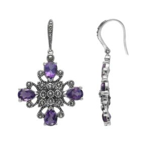 Lavish by TJM Sterling Silver Amethyst Drop Earrings - Made with Swarovski Marcasite