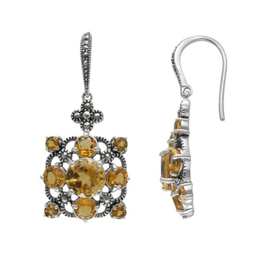 Lavish by TJM Sterling Silver Citrine Drop Earrings - Made with Swarovski Marcasite