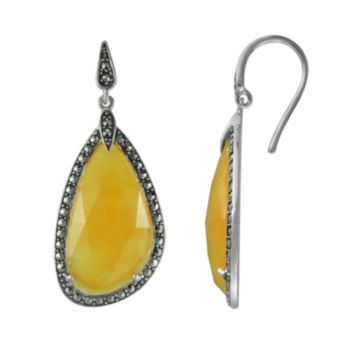 Lavish by TJM Sterling Silver Yellow Jade Drop Earrings - Made with Swarovski Marcasite