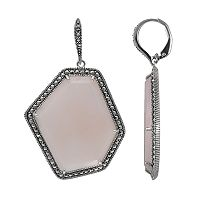 Lavish by TJM Sterling Silver Pink Opal Drop Earrings - Made with Swarovski Marcasite