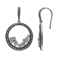 Lavish by TJM Sterling Silver Cubic Zirconia Hoop Drop Earrings - Made with Swarovski Marcasite