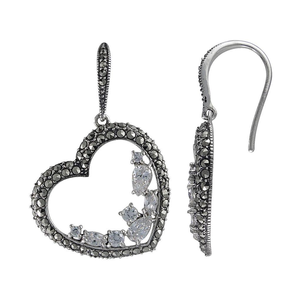 Lavish by TJM Sterling Silver Cubic Zirconia Heart Drop Earrings - Made with Swarovski Marcasite