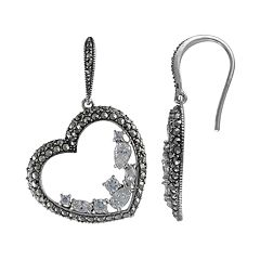 Lavish by TJM Sterling Silver Cubic Zirconia Heart Drop Earrings - Made with Swarovski Marcasite