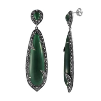 Lavish by TJM Sterling Silver Green Agate Drop Earrings - Made with Swarovski Marcasite