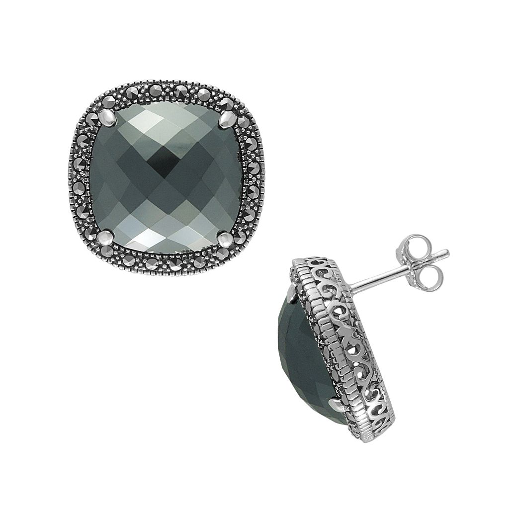 Lavish by TJM Sterling Silver Hematite Button Stud Earrings - Made with Swarovski Marcasite