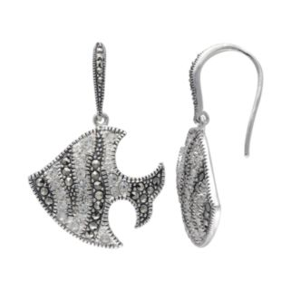 Lavish by TJM Sterling Silver Crystal Fish Drop Earrings - Made with Swarovski Marcasite