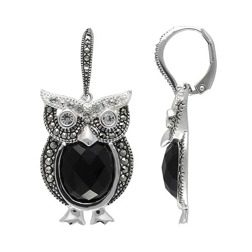 Lavish by TJM Sterling Silver Onyx & Crystal Owl Drop Earrings - Made with Swarovski Marcasite