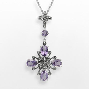Lavish by TJM Sterling Silver Amethyst Pendant - Made with Swarovski Marcasite