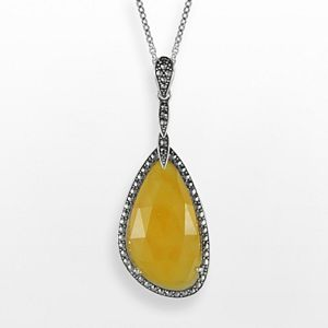Lavish by TJM Sterling Silver Yellow Jade Teardrop Pendant - Made with Swarovski Marcasite