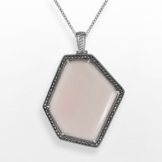 Lavish by TJM Sterling Silver Pink Opal Pendant - Made with Swarovski Marcasite