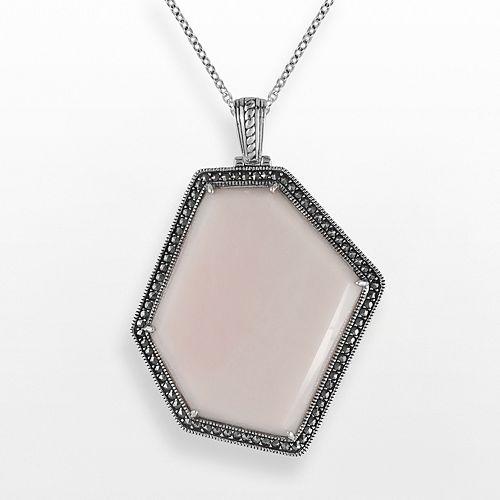 Lavish by TJM Sterling Silver Pink Opal Pendant - Made with Swarovski Marcasite