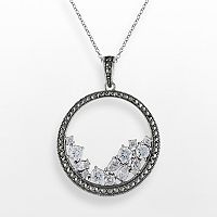 Lavish by TJM Sterling Silver Cubic Zirconia Circle Pendant - Made with Swarovski Marcasite