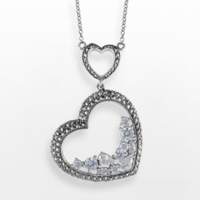 Lavish by TJM Sterling Silver Cubic Zirconia Heart Pendant - Made with Swarovski Marcasite